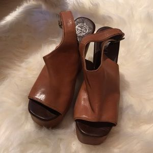 JEFFREY CAMPBELL SNICKERS LEATHER & WOOD WEDGES